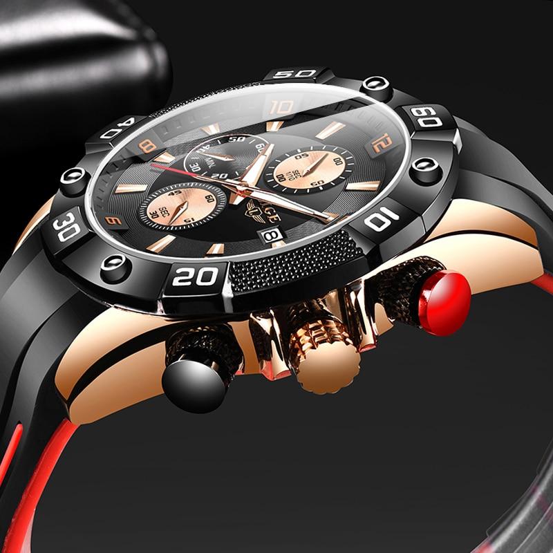2020 New Fashion Business Quartz Clock Male Top Brand Luxury Blue Wrist Watch For Men Silicone Waterproof Sport Chronograph+Box(China)