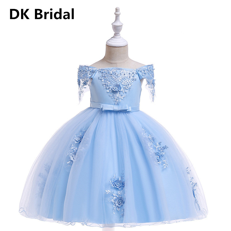 Flower     Girl     Dresses   Bead Bow Long   Dress   2019 New   Girl   Wedding Party Exchange   Dress   Ball Beauty Sexy Shoulder vestidos de   Dresses