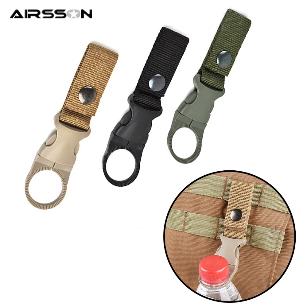 Tactical Molle Buckle Water Bottle Carabiner Clip Webbing Strap Attachment Belt Backpack Hanging Keychain For Camping Hiking