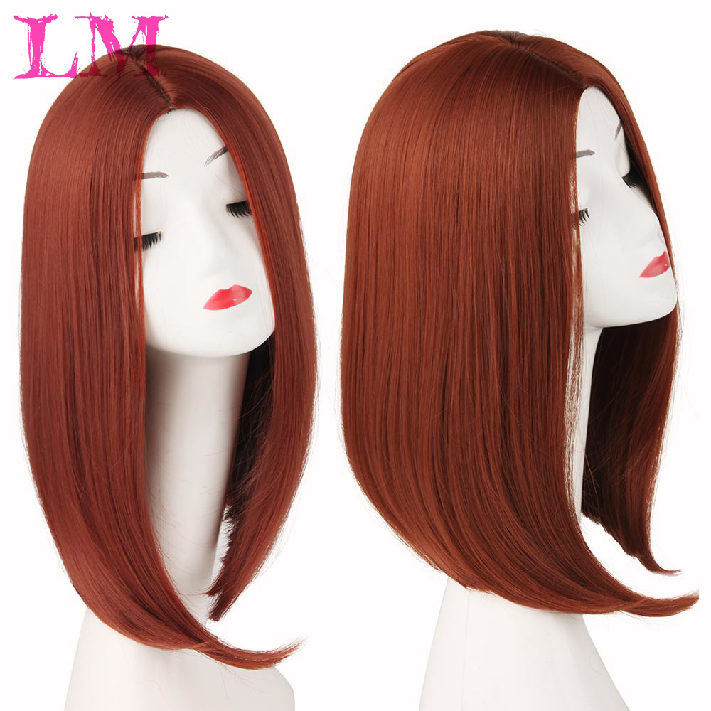 LM Fashion Girl Short Bob 14'' Ombre Black Mixed  Synthetic Wig Purple Pink Green Brown Straight Hair Wigs For Women Wig