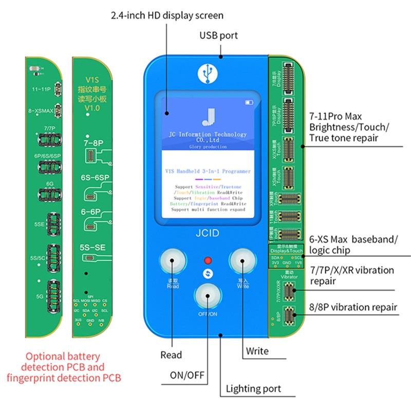 Liberal Jc V1s Light Sensor True Tone Brightness Fingerprint Battery Read Write Programmer For 7 8 Plus X Xs 11 Pro Max 11p Repair Tool To Adopt Advanced Technology