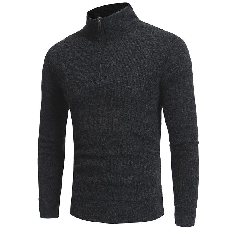 2020 New Spring And Autumn Men's Slim Long-sleeved High Collar Zipper Design Sweater