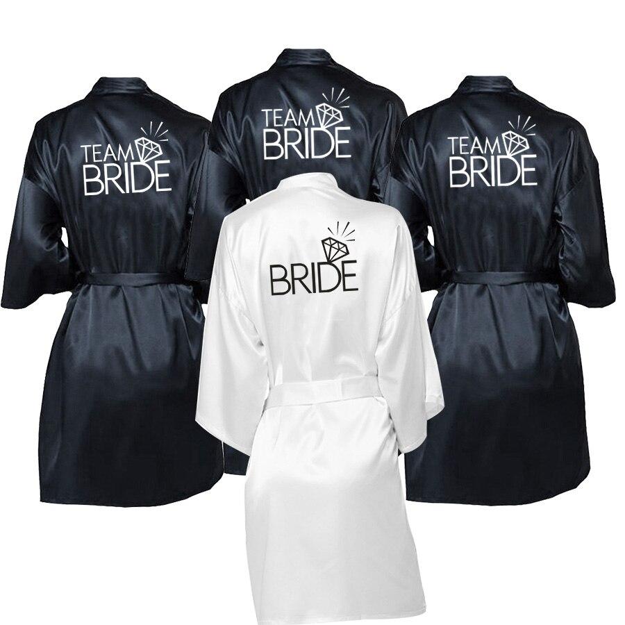 Wedding Party Team Bride Robe Kimono Satin Pajamas Robe Bridesmaid Sister Custom Robes