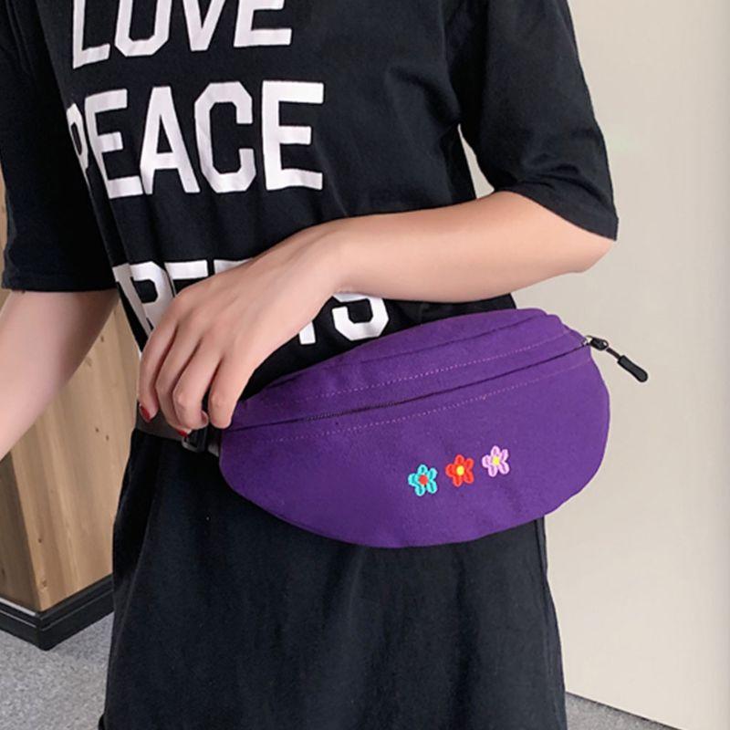 Women's Waist Fanny Pack Flower Embroidery Belt Chest Purse Shoulder Bag Hip Bum Purse Phone Pouch