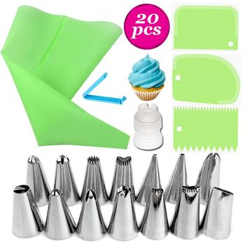 20PCS/Set Silicone Pastry Bag Tips Kitchen DIY Icing Piping Cream Reusable Pastry Bags Cake Decoration Nozzle Set Cake Decore image