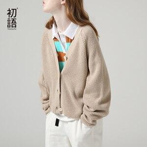 Image 2 - Toyouth 게으른 스타일 여성 중공업 긴 소매 스웨터 느슨한 솔리드 싱글 브레스트 v 넥 스웨터