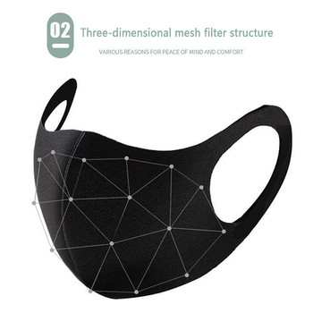 Fashionable Non-disposable Dust-proof Breathable Masks Black 1 Pack Individually Reusable Washable Black Masks 1