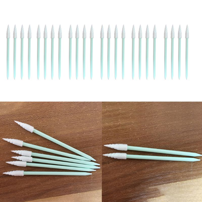 100Pcs/Pack Spiral Pointed Tipped Foam Cleaning Swab Lint Free Sponge Sticks 875C
