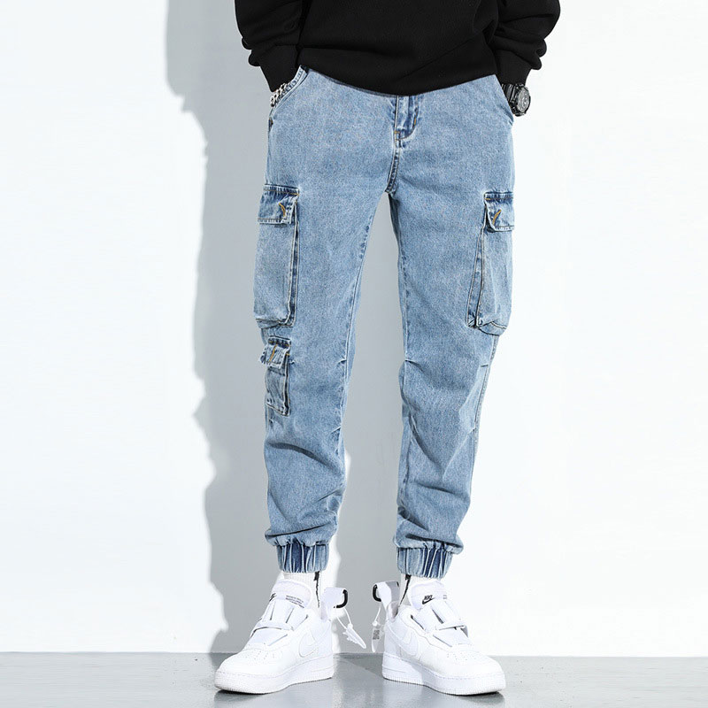Fashion Streetwear Men Jeans Loose Fit Big Pocket Cargo Pants Harem Trousers Blue Color Japanese Style Hip Hop Jeans Men Joggers