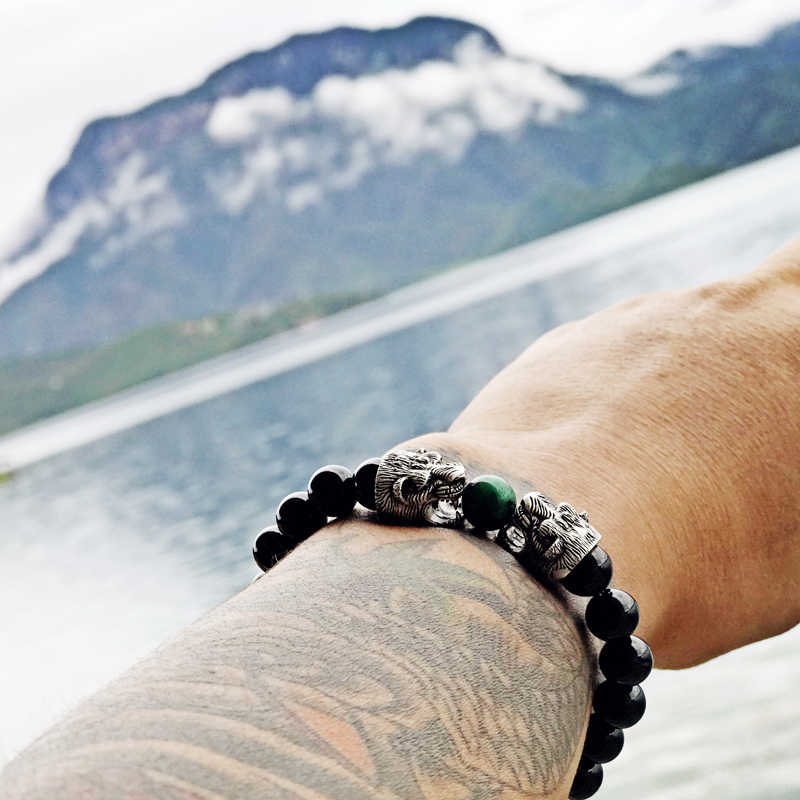 Браслет mcllroy мужской черный натуральный камень браслеты для женщин нержавеющая сталь дракон ручной работы талисманы Йога ювелирные изделия браслеты Hombre
