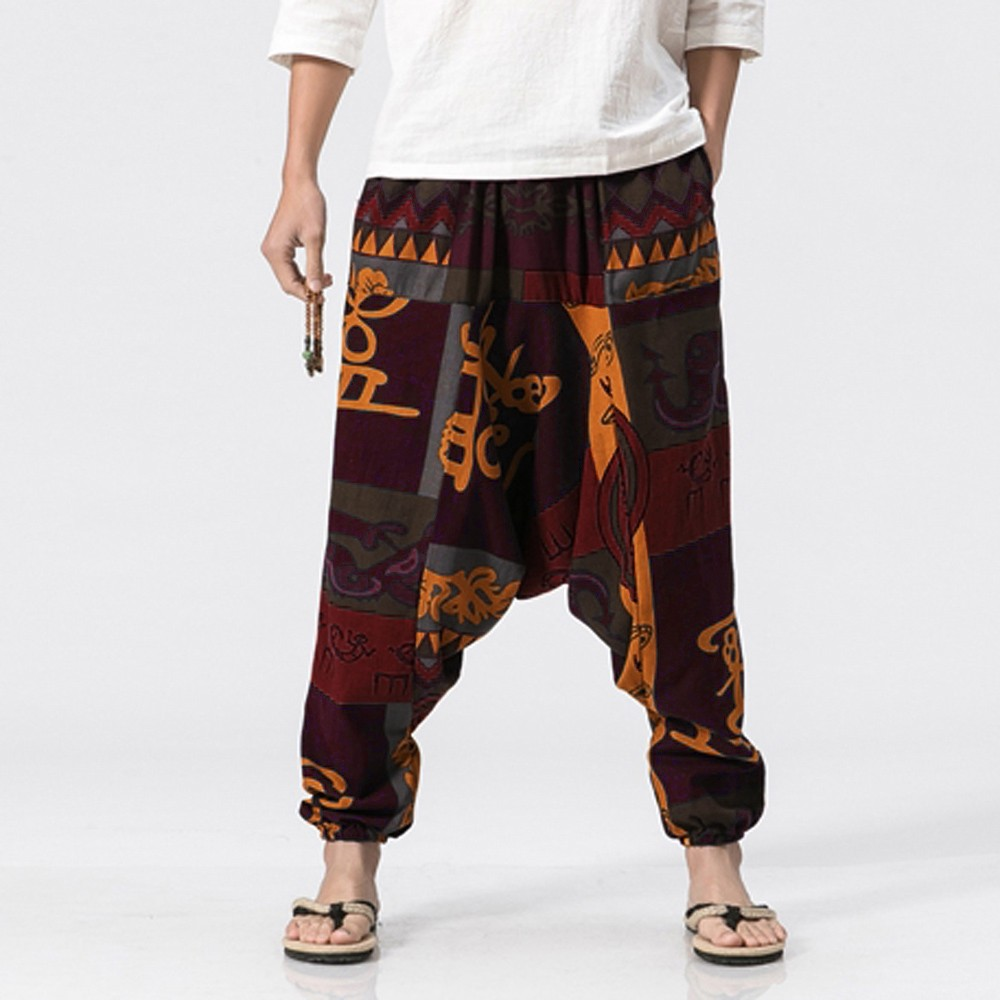 Men Causal Print Hippy Baggy Boho Elastic Cross-Pants Loose Trousers Aladdin Lantern Wide Leg Cotton Linen Harem Pant Plus 5XL