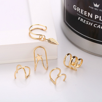 2020 New Fashion 5Pcs/Set Gold Silver Leaf Ear Cuff Clip Earrings for Women Climbers No Piercing Fake Cartilage Earring 5g 5