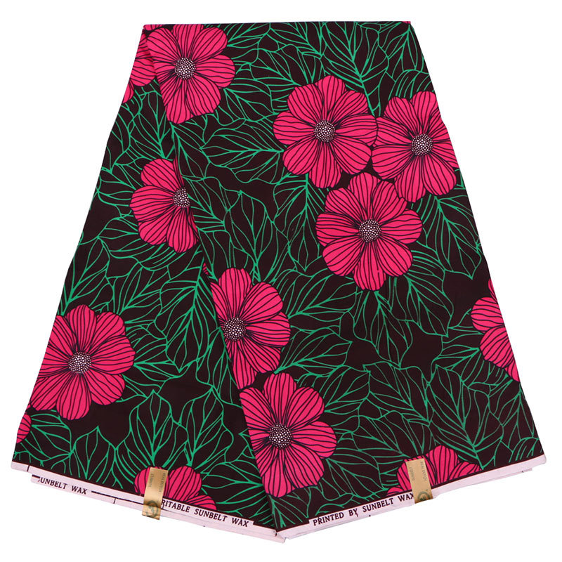 2019 Real Dutch Wax Red Flowers And Green Leaf Print Fabric African Fabric Pagne Wax