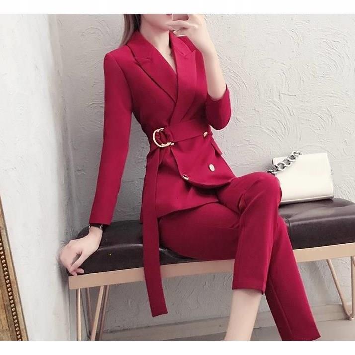 Женский офисный комплект из 2 предметов, блейзер с длинным рукавом, брючный костюм, деловой женский Рабочий костюм