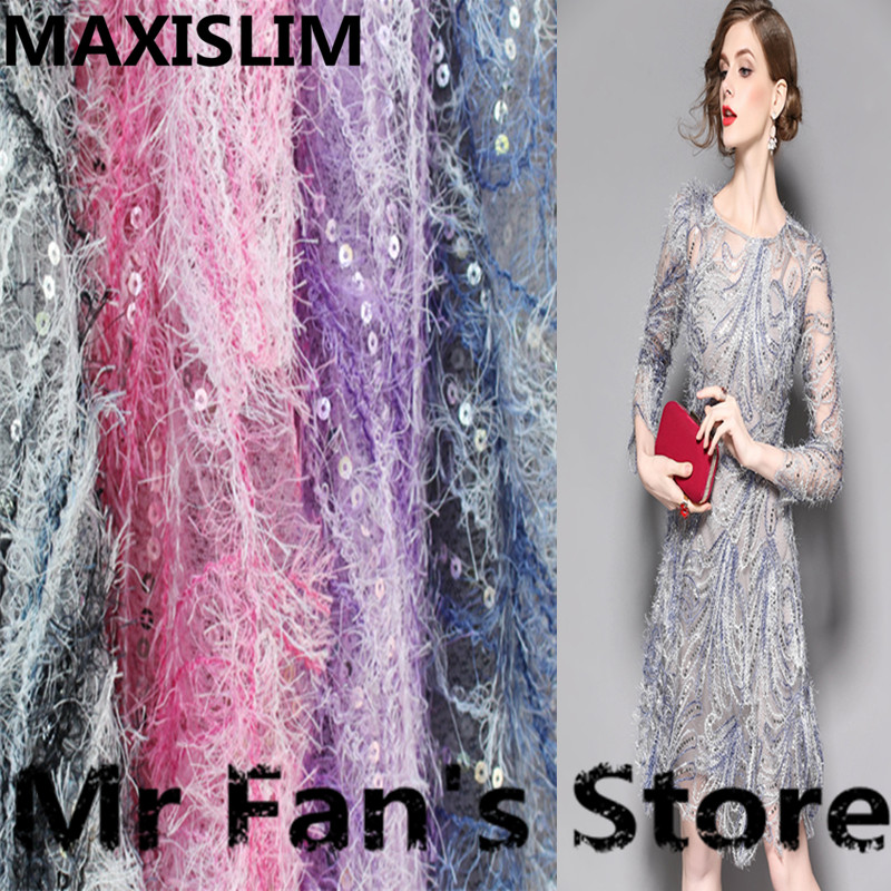 DIY High Quality Fashing Feather Lace Sequin Fabric For Shows Wedding And Other Important Occasions 130CM Wide Free Shipping