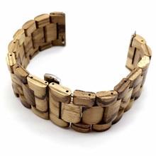 Bracelet de montre en bois naturel à dégagement rapide, pour Samsung Gear Sport S2 S3, Huawei GT 2 Galaxy Watch, 42 46mm, DIY