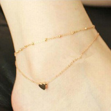 Simple Heart Ankle Layering Pendant Anklet Beaded Foot Jewelry Summer Beach Anklets On Bracelets For Women Leg Chain