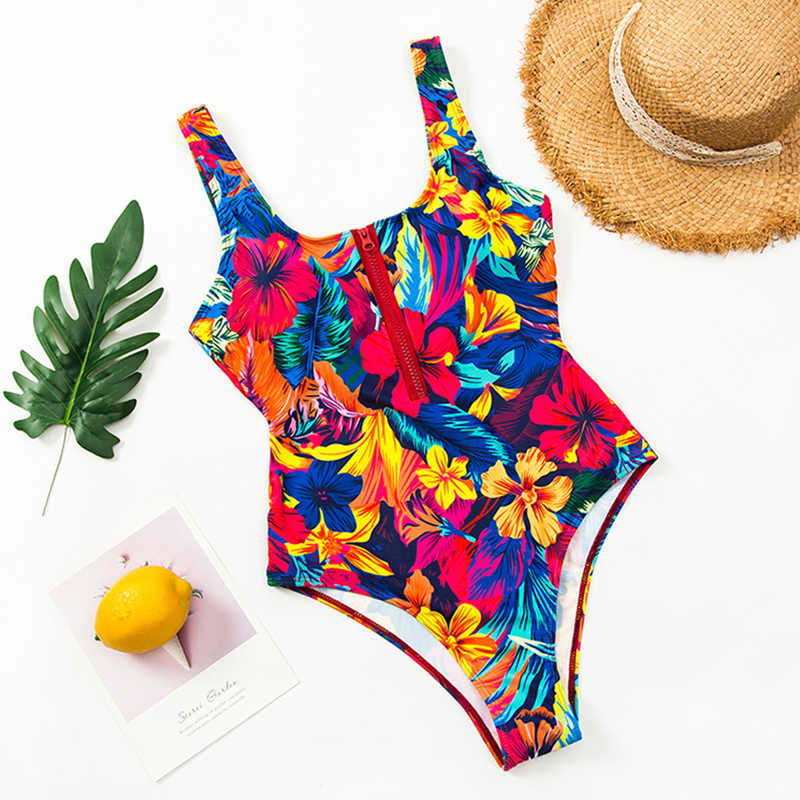 2020 새로운 섹시한 지퍼 원피스 수영복 여자 수영복은 Monokini 바디 슈트 수영복 프린트 수영복 여름 비치웨어 xl을 밀어