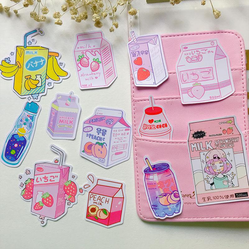Colorful Drink Jar StickerS DIY Scrapbooking Pink Album Journal Diary Happy Planner Week Decoration Stickers