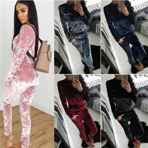 Tracksuit Pants Hoodies Running-Set Sport-Sets Velour Spring Velvet Fitness Workout Women