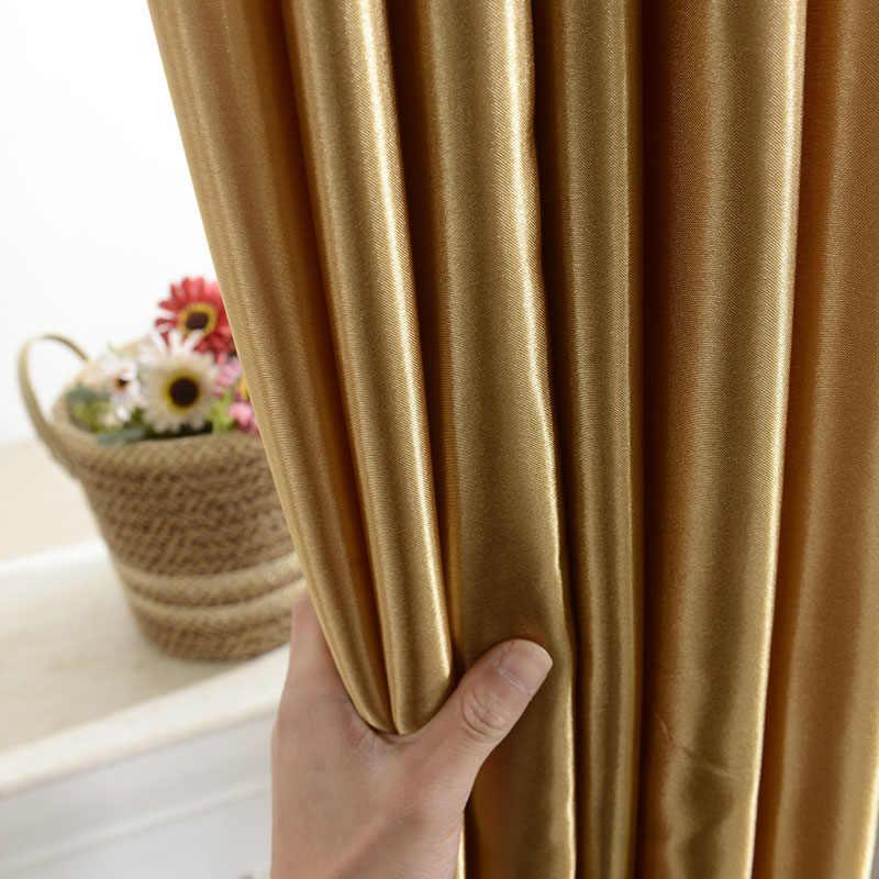 Rideaux de fenêtre occultants modernes en Satin, avec œillets, tige de chambre à coucher, sous-couche translucide, pour salon, 12 couleurs