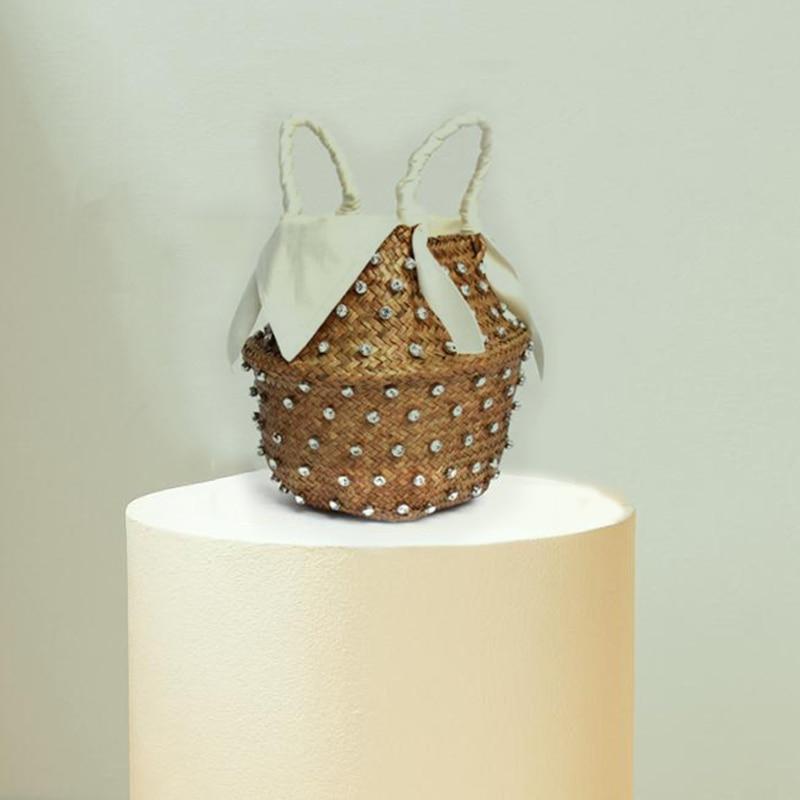Artesanal de Costura Férias Moda Cristal Tecido Cesta Diamante Bolsa Embreagem Bolsas Luxo Femininas Designer Quente Palha
