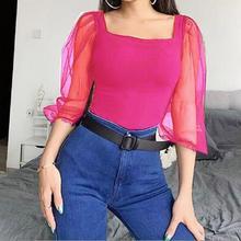 Sexy Women Solid Bodysuit Fashion Square Collar Leotard Long Mesh Sleeve Tight Romper Bodis de Mujer 2019 New Hot Sale YE