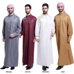 Image 3 - Müslüman suudi erkek elbise Thobe Dishdasha Thoub İslam namaz Abaya arapça Kaftan uzun kollu elbise Jubba giyim orta doğu yeni