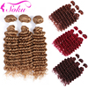 Honey Blonde Deep Wave Human Hair Bundles SOKU Brazilian Hair Weave Extensions 3/4PCS Bundles Deal Non-Remy Human Hair Weave