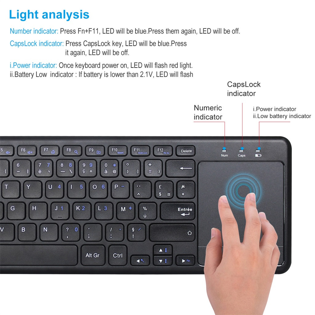 2.4GHz Wireless Mini Touchpad Keyboard French Keyboard For PC Smart TV Android  For AIl-IN-ONE Computers For Windows Mac