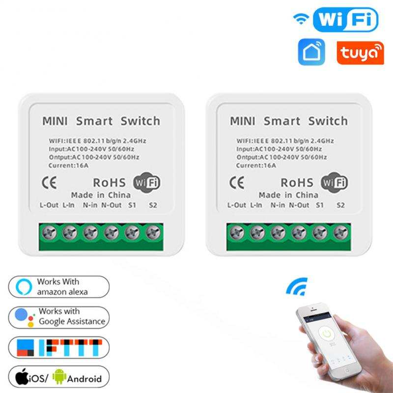 16A/10A 2 Way DiY WiFi умный светильник переключатель релейный модуль Smart Home приложение Tuya дистанционного Управление работает с Alexa Echo Google Home