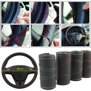 1Pcs Car Micro Fiber Leather Steering Wheel Case Cover Shell Skidproof Car Accessories For Audi Nissan Honda KIA Hyundai BMW Etc image