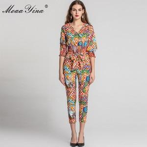 Image 2 - MoaaYina Fashion Designer Set Spring Summer Women V neck Vintage Baroque Print Tops+Pencil pants Two piece suit