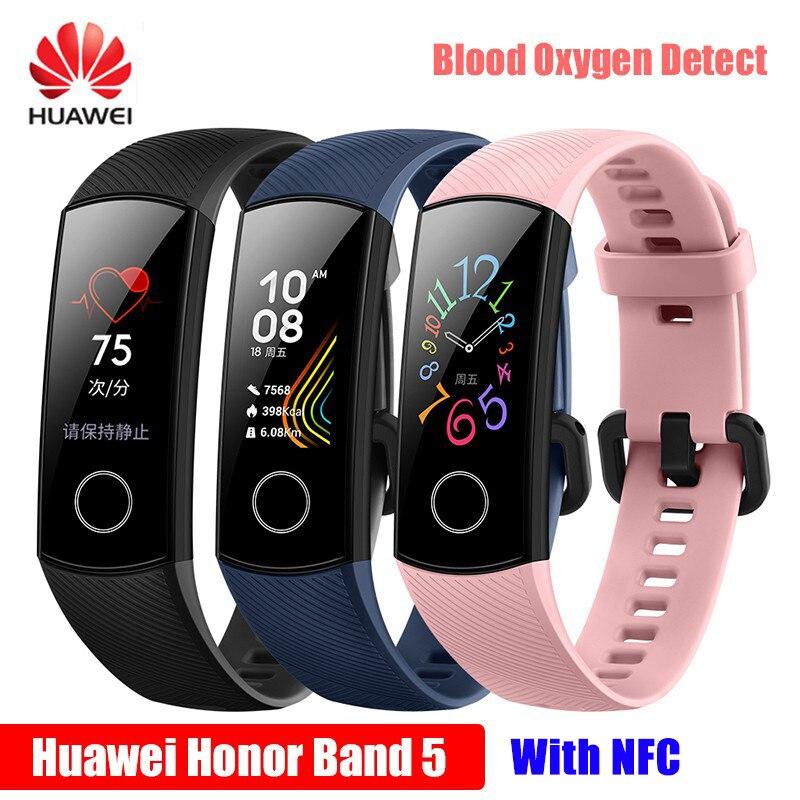 2019 Original Novo Huawei Honra 5 NFC Inteligente Global Pulseira Banda Honra 5 Oxímetro de pulso de Oxigênio No Sangue de Fitness Tela Colorida DropShipping