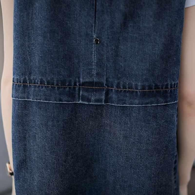 Chaleco vaquero para mujer primavera otoño elegante cuello vuelto chaqueta sin mangas Casual bolsillo suelto chaleco largo femenino talla grande 3XL