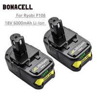 Batería Bonacell para Ryobi 18V 6000mAh P108 RB18L40 batería recargable de iones de litio batería de herramientas eléctricas batería P2000 P310 l30