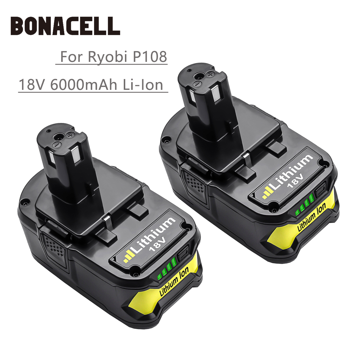 Bonacell Battery For Ryobi 18V 6000mAh P108 RB18L40 Lithium Ion Rechargeable Battery Pack Power Tools Battery P2000 P310 L30