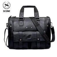 Scione Männer Verdicken PU Leder Aktentasche Große Kapazität Laptop Business Messenger Schulter Tasche Hohe Qualität Reise Büro Handtasche