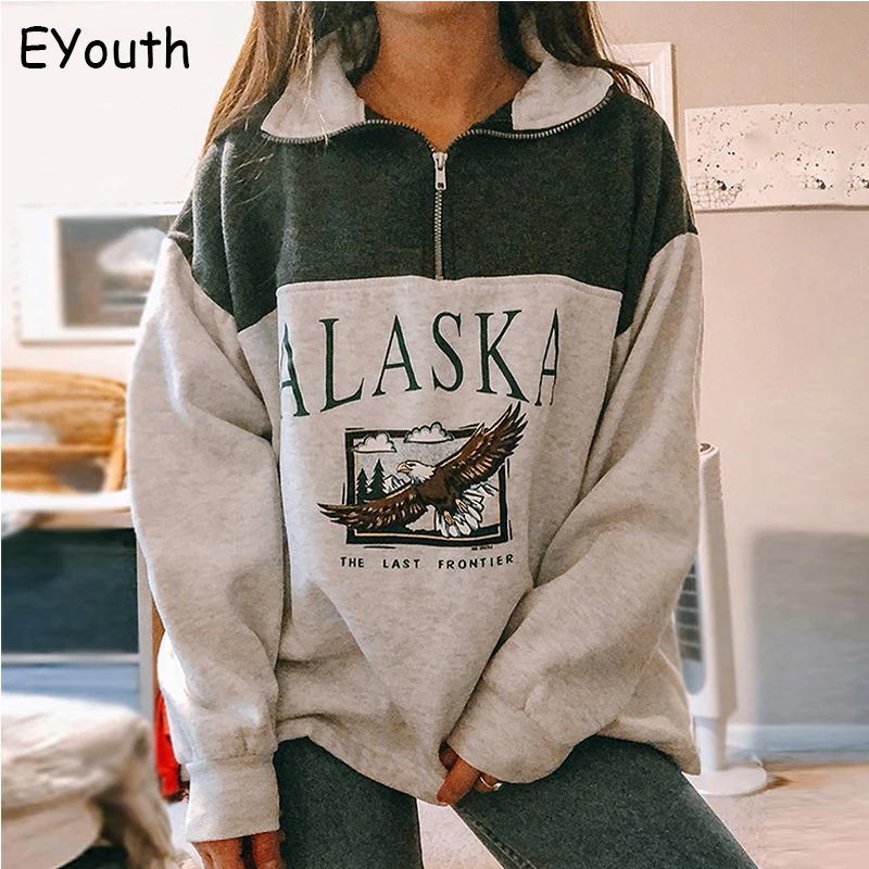 Fashion women's cotton Stand collar half zipper letter printing long sleeve sweatshirts Vintage Grey casual loose sweatshirt 1