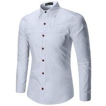 2019 new casual solid shirt men pocket desgin long sleeve regular fit good quality dress