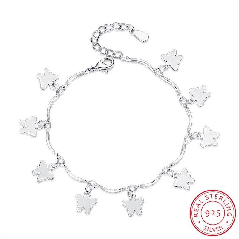 925 Sterling Silver Animal Bracelets & Bangles For Women Sterling-silver-jewelry Lovely Butterfly Bracelet pulseira S-B112