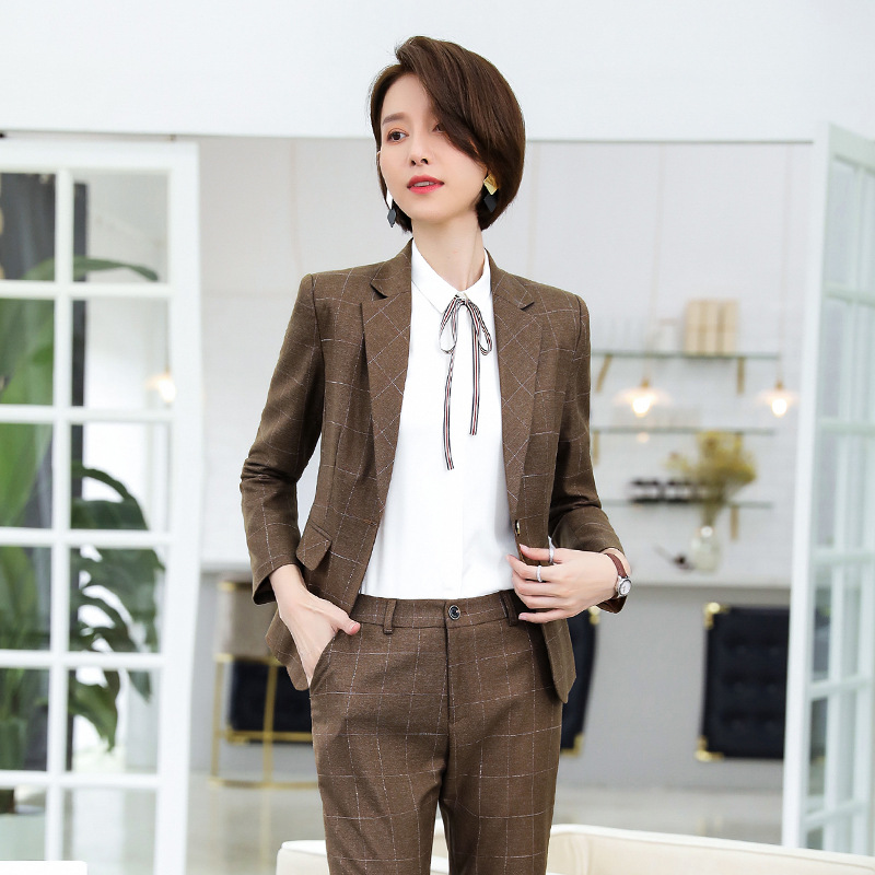 High Quality Women's Suit Work Clothes Business Office Long Sleeve Check Jacket Female Pants Suit Winter Women's Two-piece 2019