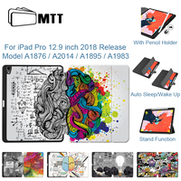 Mtt 2018 Case Voor Ipad Pro 12.9 Inch 3rd Gen Pu Lederen Flip Stand Case Cartoon Graffiti Magnetische Smart Cover met Potlood Houder