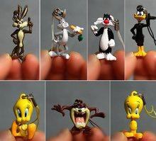8 unids/set de dibujos animados Pato Donald Tweety de conejo gato silvestre cabeza de la muñeca Mini figura juguetes modelo de bricolaje pequeña colección muñecas modelo