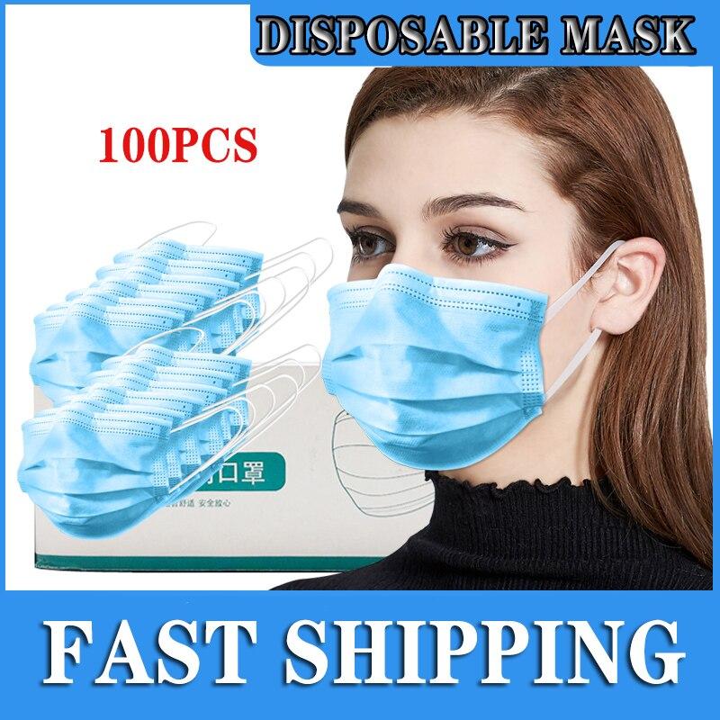 100 pièces Protection unisexe masque jetable Non-tissé masques trois couches filtre Anti-poussière bouche nez Coronavirus bouche masques