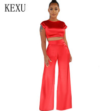 KEXU Elegant Loose Simulation Silk Wide Leg Pants Fashion Two Pieces Sets Satin Bodycon Bandage Jumpsuits Sexy Ladies Streetwear