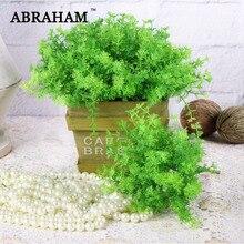 20cm 6pcs/lot Plastic Grass Tropical Artificial Succulent Plants Bouquet Mini Fake Cactus Green Fern grass For Home Party Decor