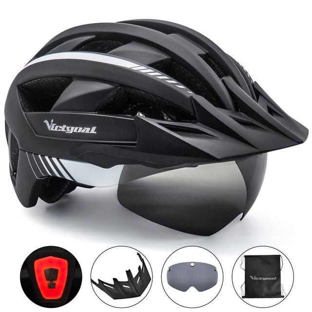 Victgoal mtb capacete da bicicleta moutain estrada usb recarregável backlight ciclismo capacete viseira sol polarizado óculos de proteção luz da bicicleta capacetes 1
