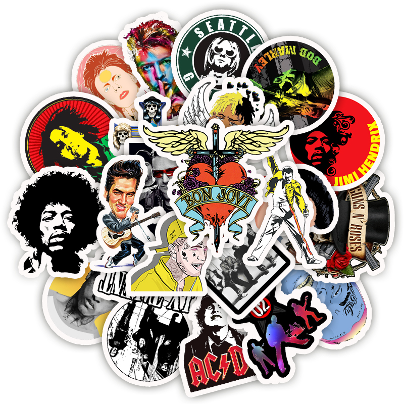 50Pcs Stickers Metal Punk Style Sticker Scrapbooking Waterproof Graffiti Travel Sticker For Laptop Suitcase DIY
