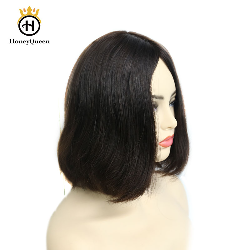Kosher Jewish Wigs European Remy Hair With Baby Hair Straight Human Hair Wigs Silk Top 4# Color Kosher Wig Pre Colored